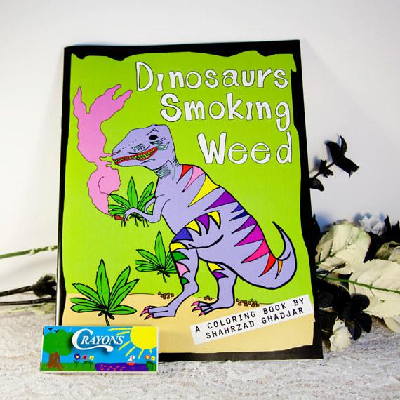 Malbücher für erwachsene dinosaurier rauchen weed