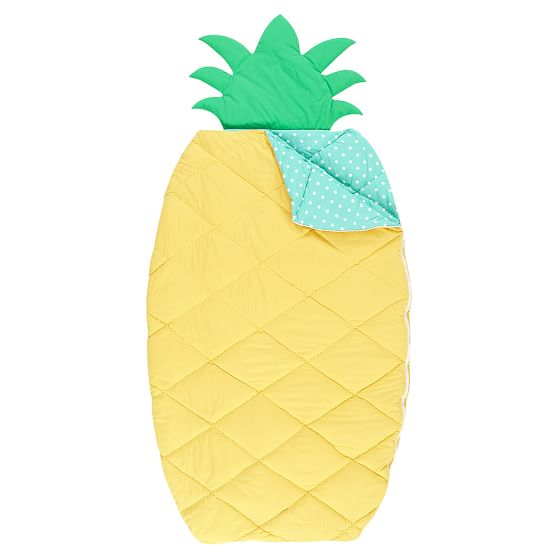 glamping Shaped Sleeping Bag + Pillowcase, Pineapple schlafsack