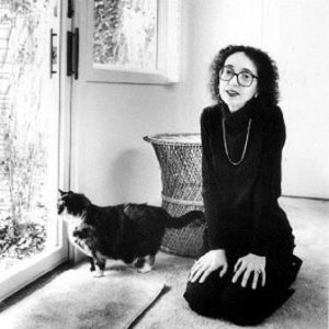 "Joyce Carol Oates ""I write so much because my cat sits on my lap. She purrs so I don't want to get up. She's so much more calming than my husband."""