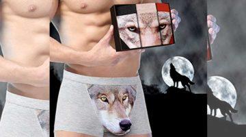 Wolf Boxershorts mit Schnauze 3D für Penis