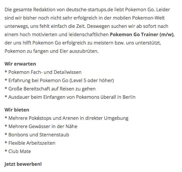 pokémon go trainer stellenangebot deutsche startups