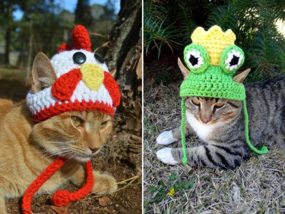 iheartneedlework häkelmützen für katzen tiere süß