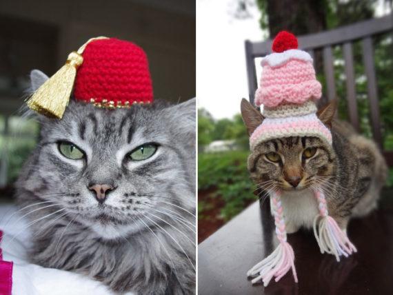 iheartneedlework mützen für katzen gehäkelt etsy