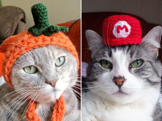 handmade monster hüte für katzen gehäkelt
