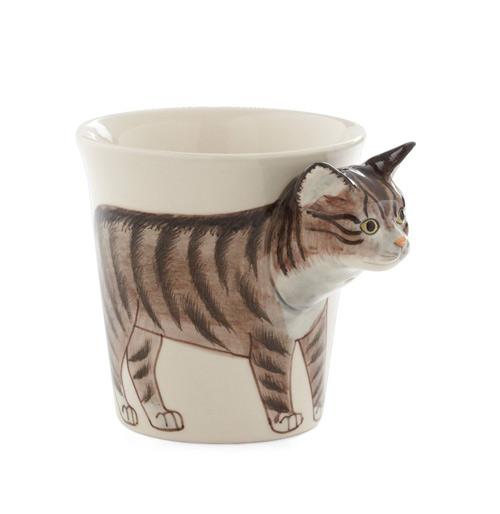 Tasse mit Katzen Relief