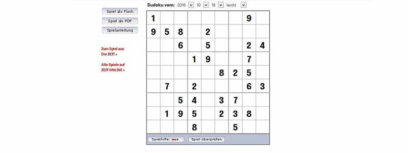 Online sudoku spielen